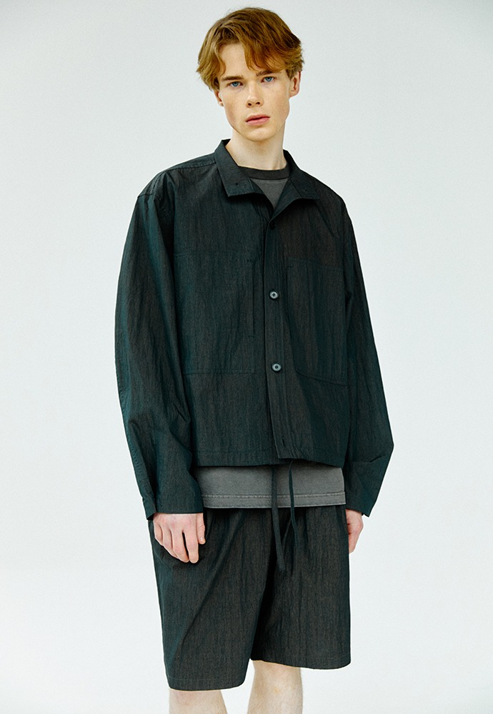 Two Pocket Stand Collar Shirts_ Charcoal