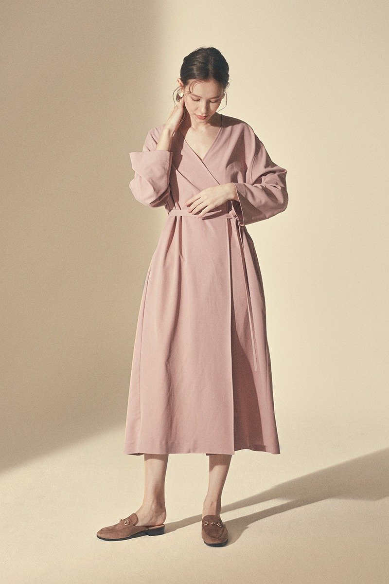 STRING ONE-PIECE ROBE_Indian pink
