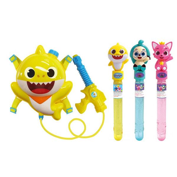 핑크퐁 아기상어 여름 물놀이세트 배낭물총+스틱버블 랜덤