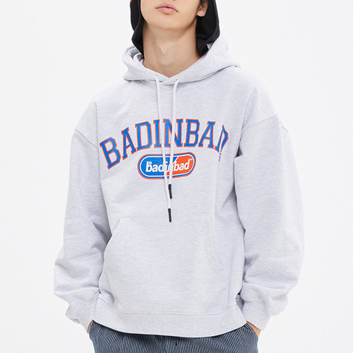 COLLEGE FONT HEAVY WEIGHT HOODIE_LIGHT GREY
