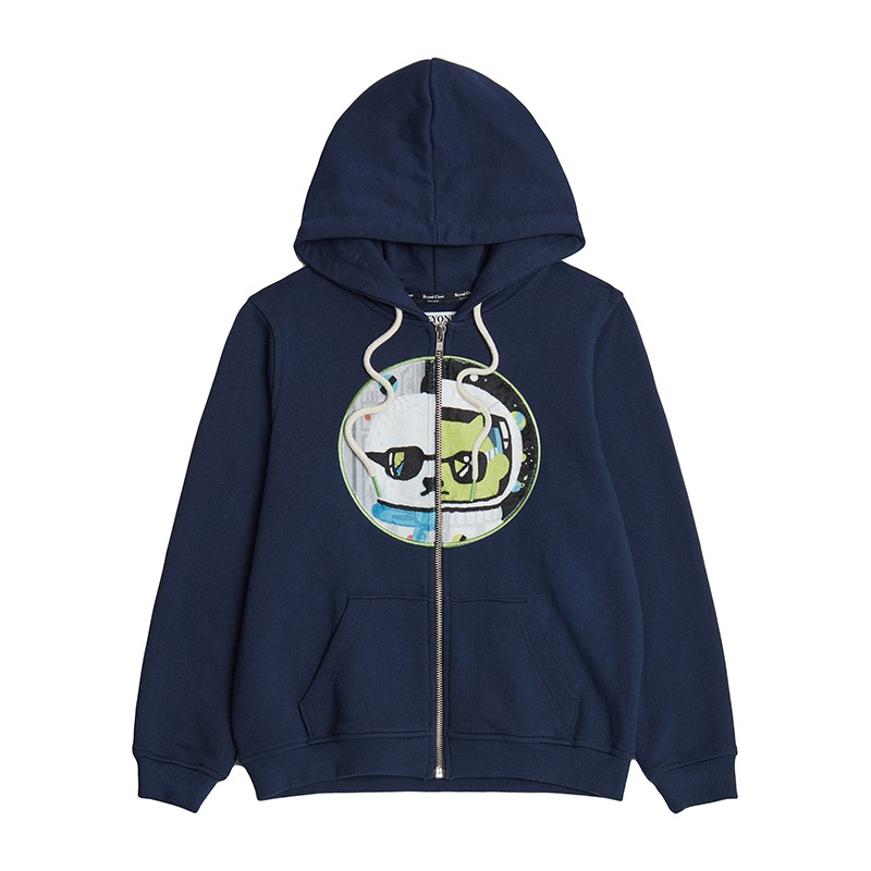 (KIDS EDITION) BIS COLLECTION PATCH ZIP-UP HOOD T-SHIRTS NAVY