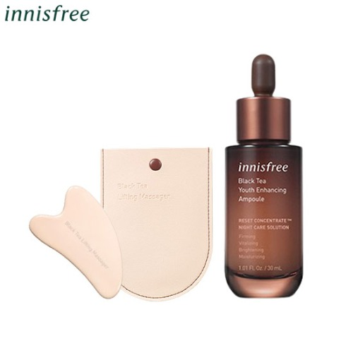 INNISFREE Black Tea Youth Enhancing Ampoule & Massager Set 3items