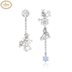 CLUE Frozen Lovely Olaf Silver Earrings (CLER19B76PWL) 1pair [CLUE X Disney]