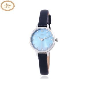 CLUE Frozen Elsa Holographic Dial Navy Leather Wristwatch (CL2G19B14LWL) 1ea [CLUE X Disney]