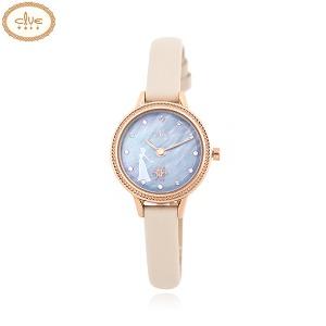 CLUE Frozen Elsa Snow Flower Moving Ivory Leather Wristwatch (CL2G19B04LPI) 1ea [CLUE X Disney]