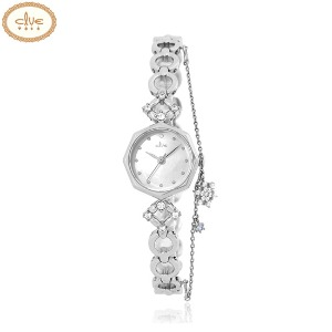 CLUE Frozen Snow Flower Charm Silver Metal Wristwatch (CL2G19B03MWW) 1ea [CLUE X Disney]