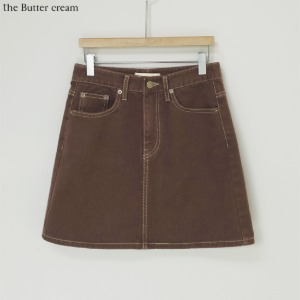 THE BUTTER CREAM Sloco Brown Washing Denim Skirt 1ea,Beauty Box Korea,Other Brand,Others