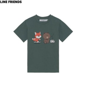 MAISON KITSUNE X LINE FRIENDS Collection Skate Kids Blue Green Short Sleeved T-shirt 1ea