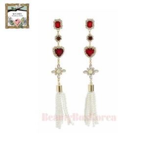 STRAWBERRY SHERBET Floral Red Heart 01 Pearl Tassel Long Drop Earrings 1pair,STRAWBERRY SHERBET