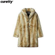 CURETTY C Shawl Collar Fur Coat Brown 1ea