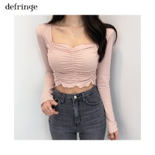 DEFRINGE Crop Shirring Square Neck Long Sleeve Tee 1ea,Beauty Box Korea,Other Brand,Other