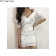 BUPYEONG DAILY Puff Sleeve Shirring Wrap Satin Off The Shoulder Mini Dress 1ea,Beauty Box Korea,Other Brand,Other