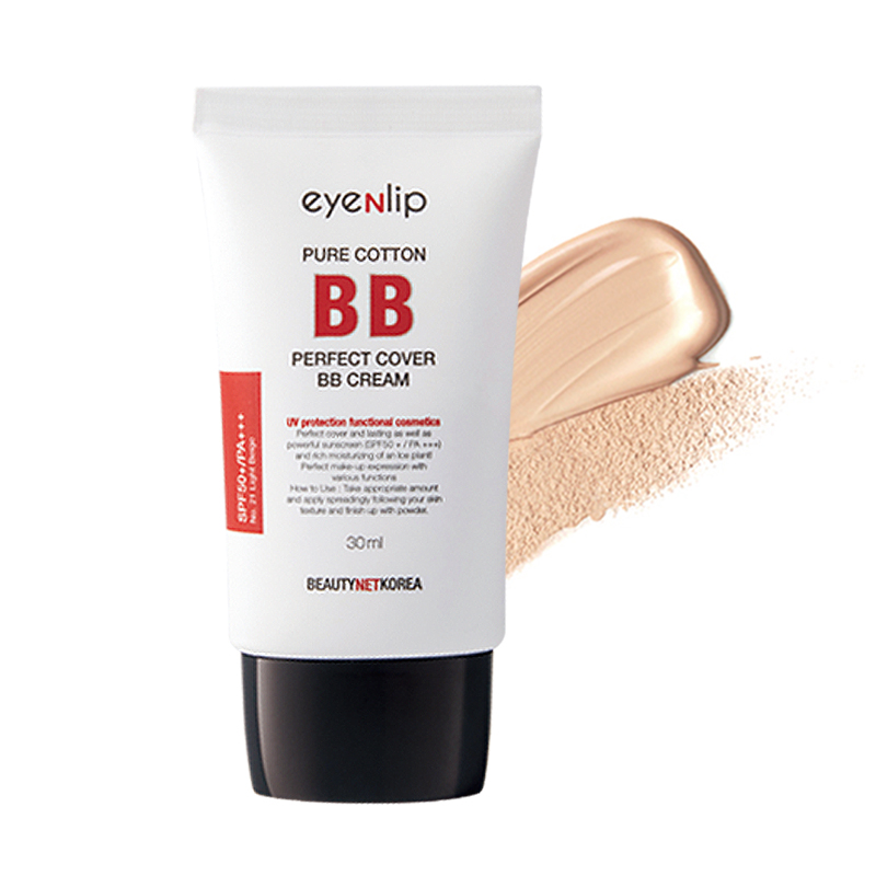 Own label brand, [EYENLIP] Pure Cotton Perfect Cover BB Cream (SPF50+/PA+++) 30ml 2 Color  (Weight : 43g)