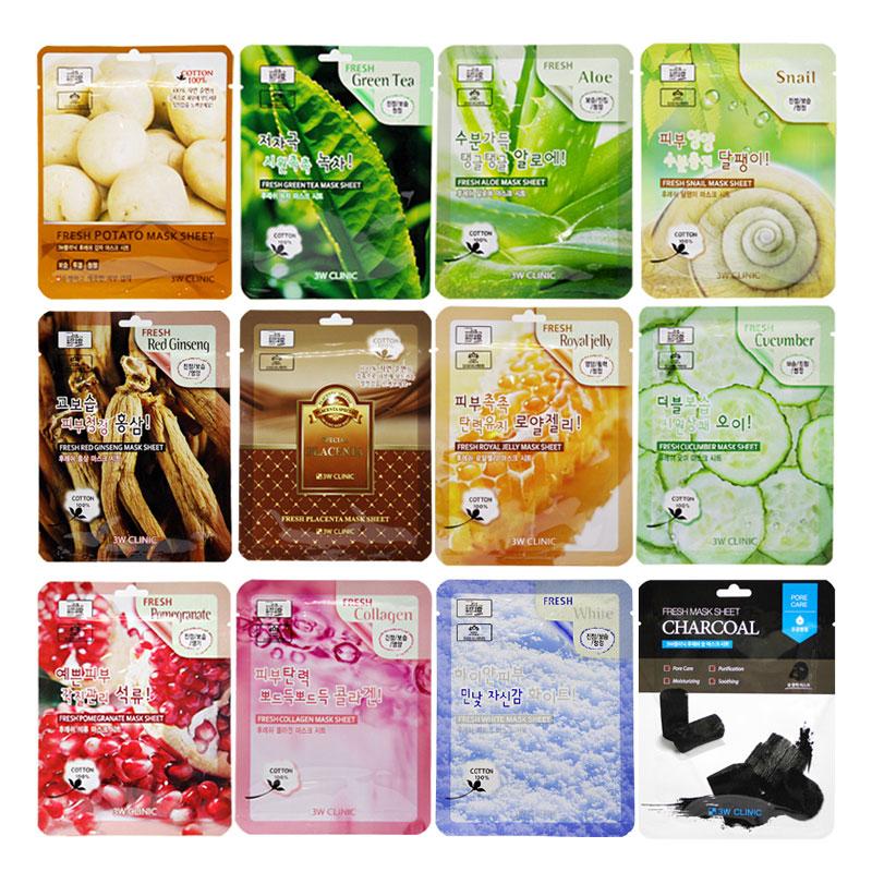 Own label brand, [3W CLINIC] Fresh Mask Sheet 23ml 12 Types [1pcs](Weight : 30g)