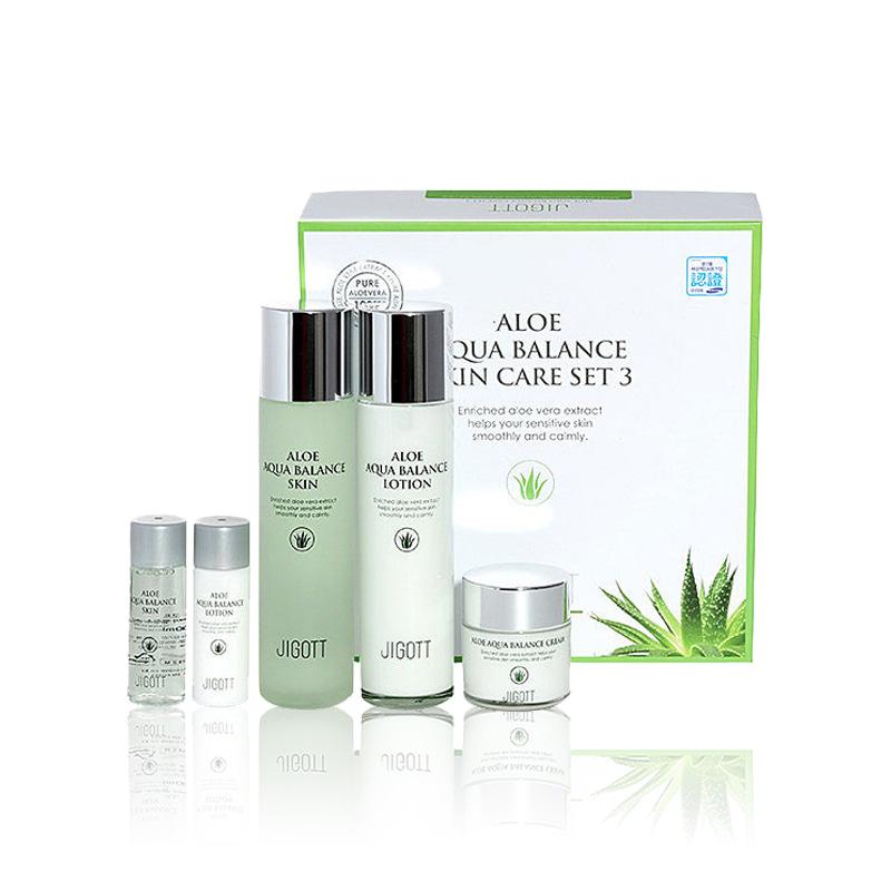 Own label brand, [JIGOTT] Aloe Aqua Balance Skin Care Set 3 150ml+150ml+50ml (Weight : 1232g)