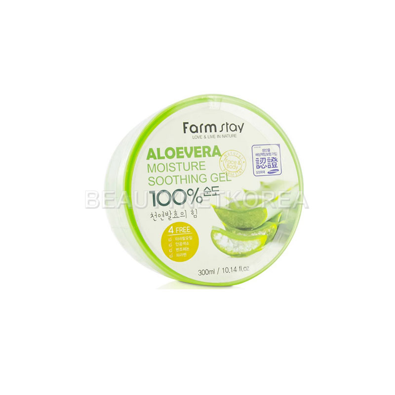 Own label brand, [FARM STAY] Moisture Soothing Gel [Aloevera] 300ml (Weight : 386g)