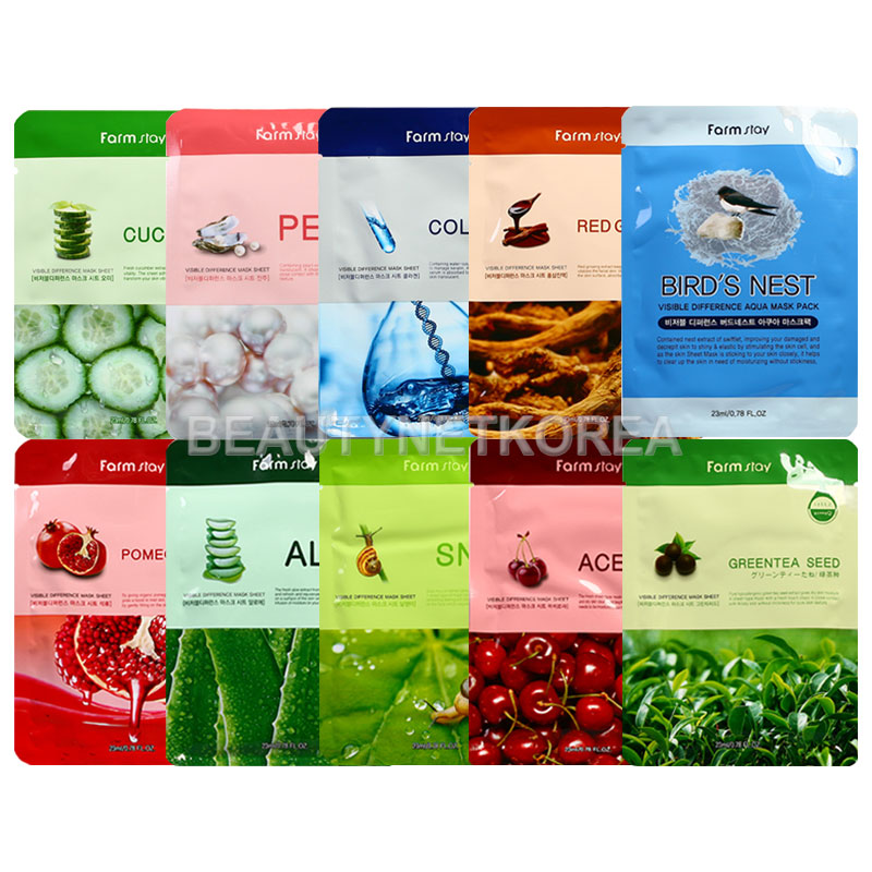 Own label brand, [FARM STAY] Visible Difference Mask Sheet 23ml 10 Types (Weight : 30g)