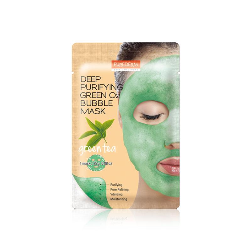 Own label brand, [PUREDERM] Deep Purifying Green O2 Bubble Mask Green Tea 25g * 1pcs (Weight : 34g)