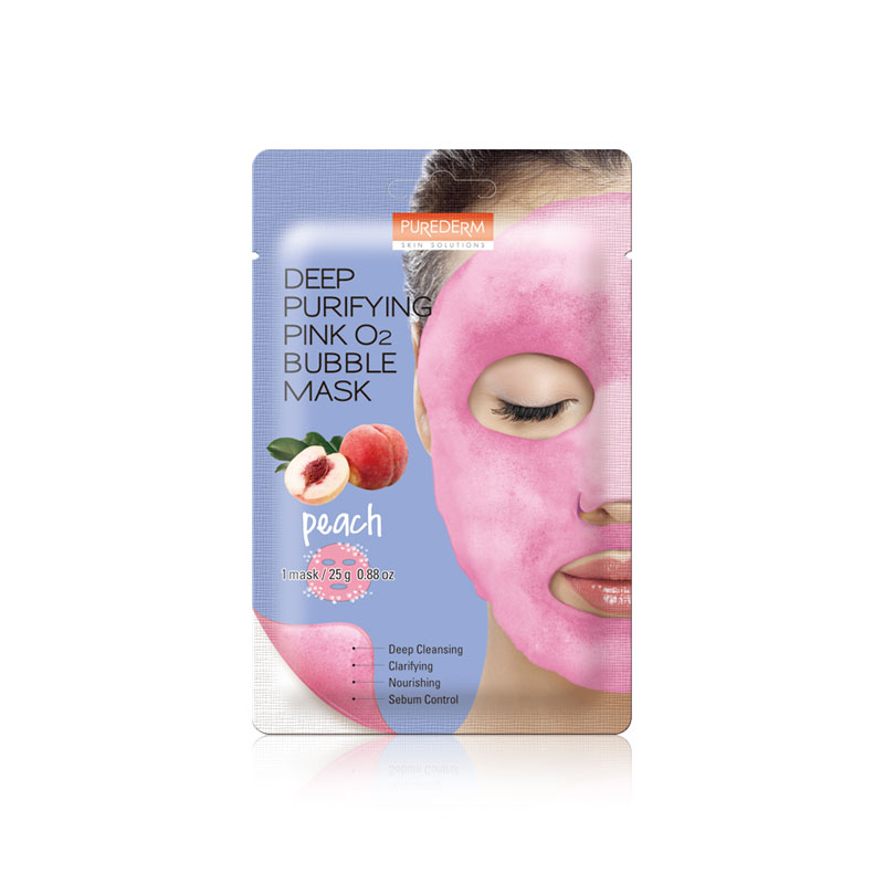 Own label brand, [PUREDERM] Deep Purifying Pink O2 Bubble Mask Peach 25g * 1pcs (Weight : 34g)