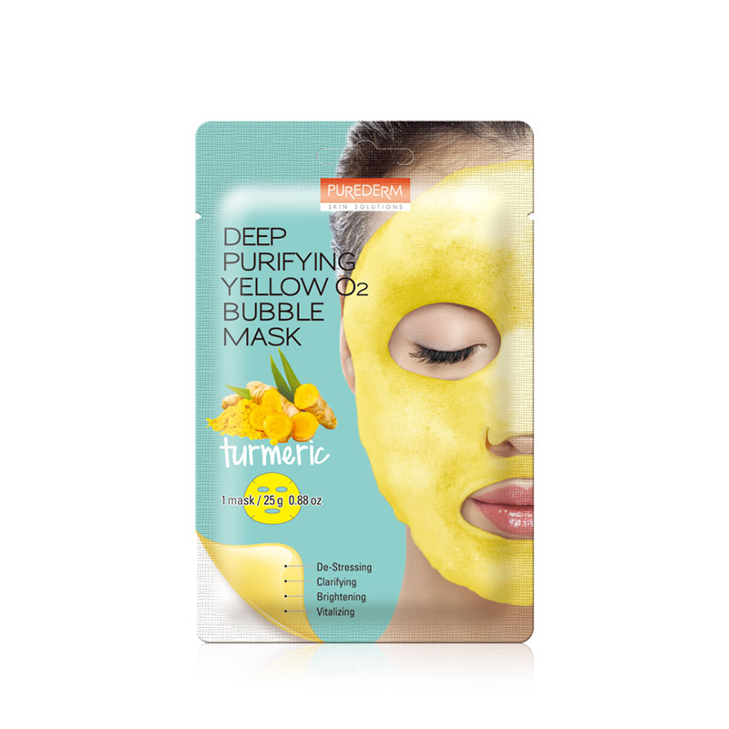 Own label brand, [PUREDERM] Deep Purifying Yellow O2 Bubble Mask Turmeric 25g * 1pcs (Weight : 35g)