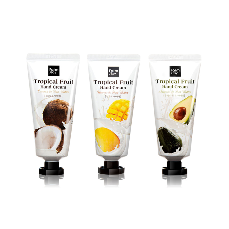 Own label brand, [FARM STAY] Tropical Fruit Hand Cream 50ml 3 Type (Weight : 66g)
