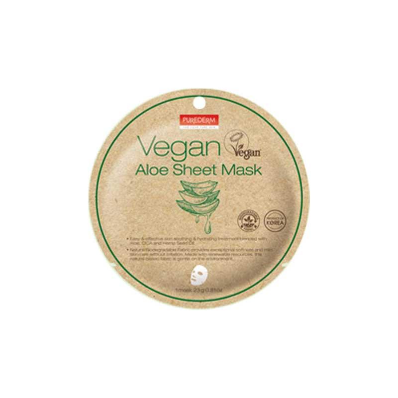 Own label brand, [PUREDERM] Vegan Sheet Mask 23g #aloe  (Weight : 32g)