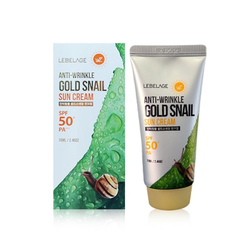 Own label brand, [LEBELAGE] Anti-Wrinkle Gold Snail Sun Cream (SPF50+/PA+++) 70ml (Weight : 103g)
