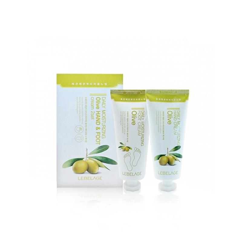 Own label brand, [LEBELAGE] Daily Moisturizing Olive Hand & Foot Cream 2 Set 100ml*2ea (Weight : 258g)