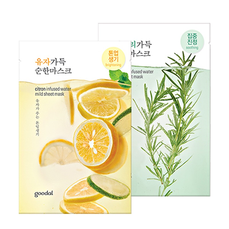 Own label brand, [GOODAL] Infused Water Mild Sheet Mask 23ml 4 Types (Weight : 32g)