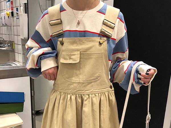 [당일배송/세일상품] 소공녀 아메카지 멜빵 치마