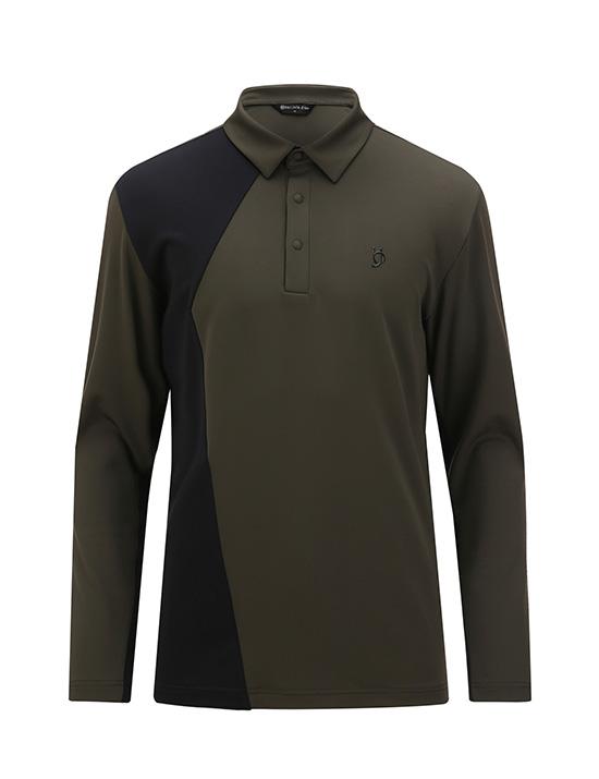 남성 변형사이바배색 카라티셔츠