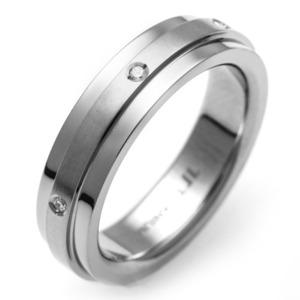 T-857 DIA - TATIAS, ダイヤモンド付きチタンリング