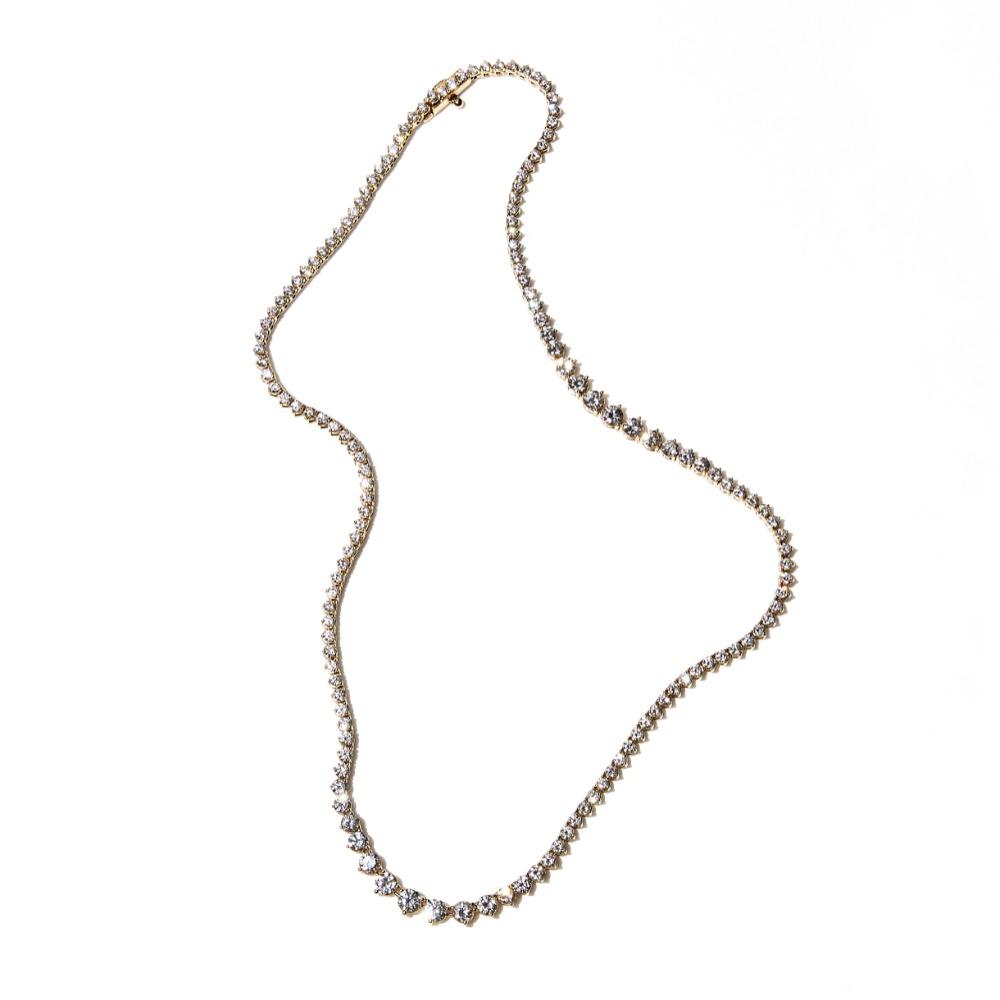 GRADUATED LINE DIAMOND TENNIS NECKLACE - Open Prong Setting