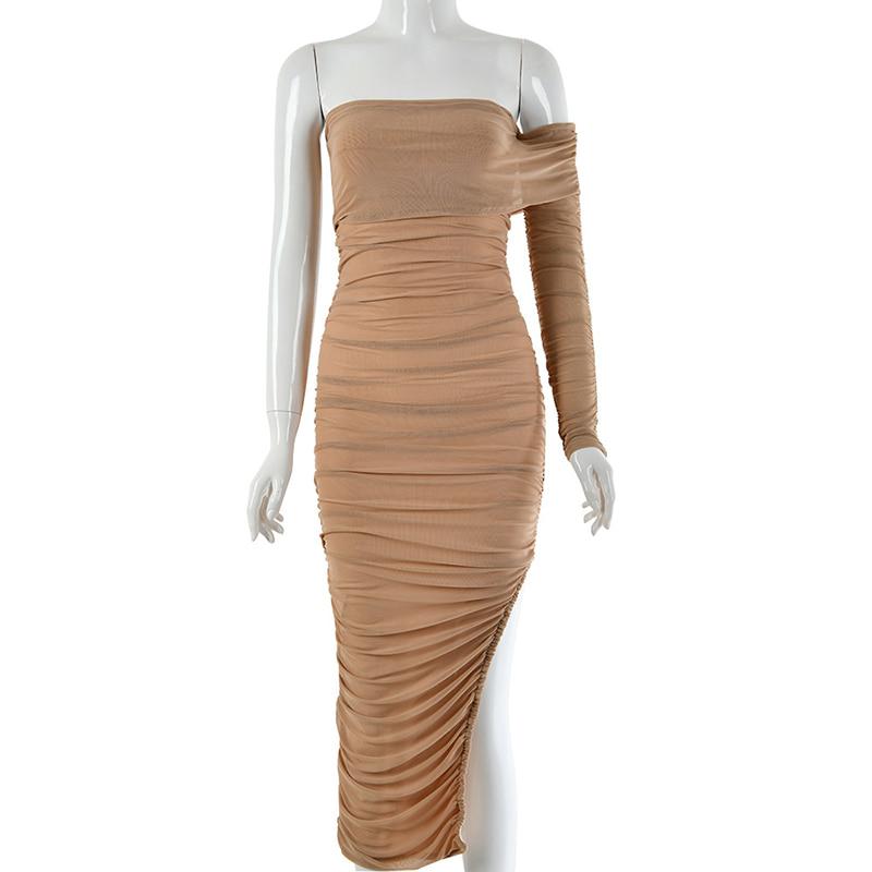 (SALE) Ruched Unbalance Midi Dress (당일발송가능)