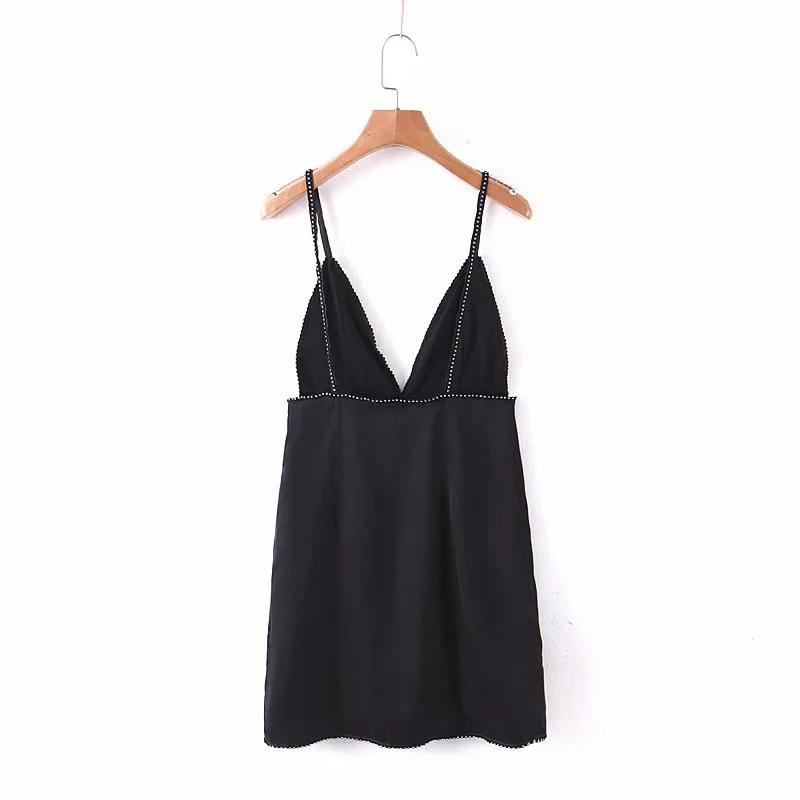 블랙피치,(SAMPLE SALE) Rhinestone Trim Satin Mini Dress (당일발송가능)