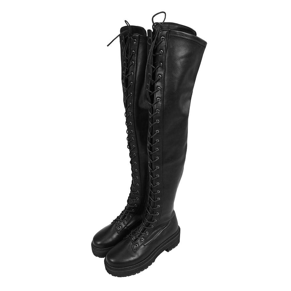 Lace Up Thigh High Combat Boot