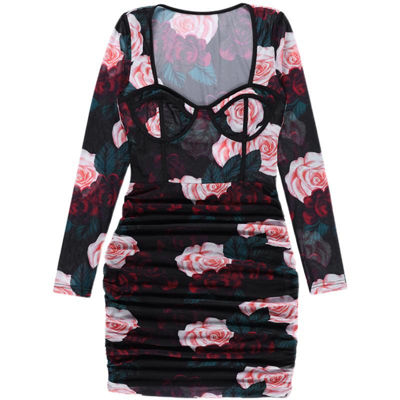 플로랄 메쉬 미니 드레스