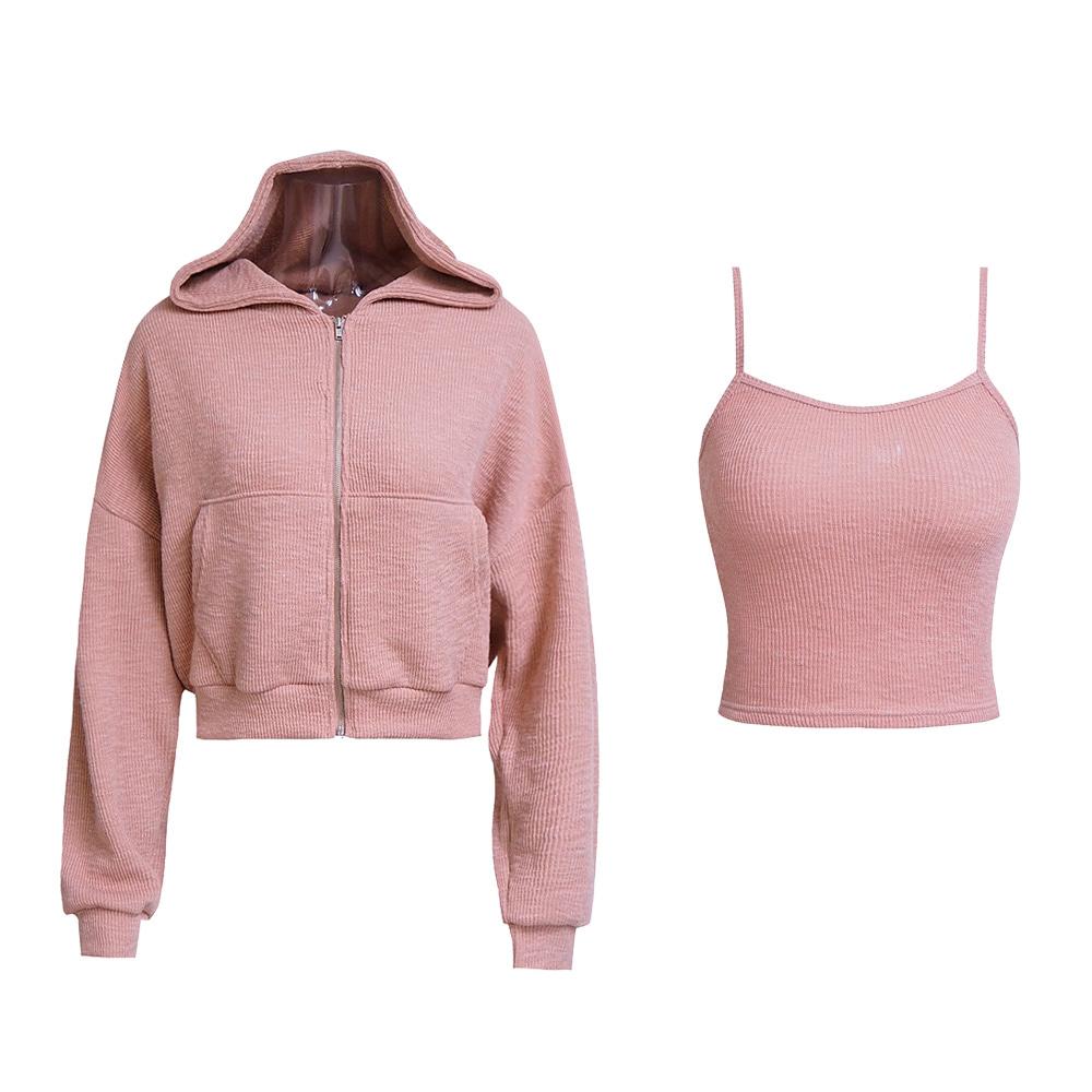 Ava Ribbed Knit Cami Top & Hood Zip Up
