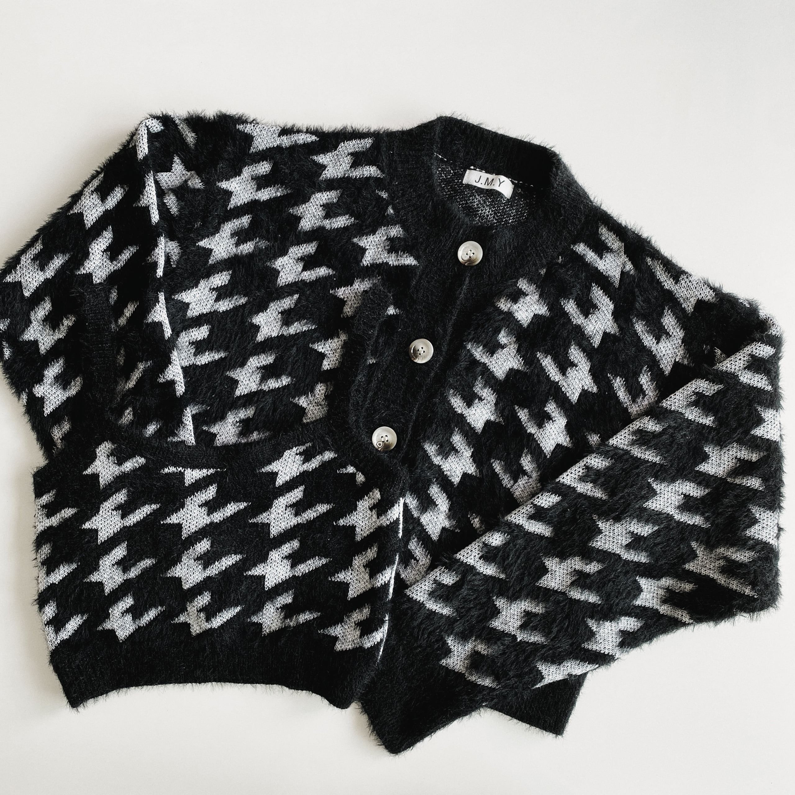 Hound Tooth Check Mohair Cardigan