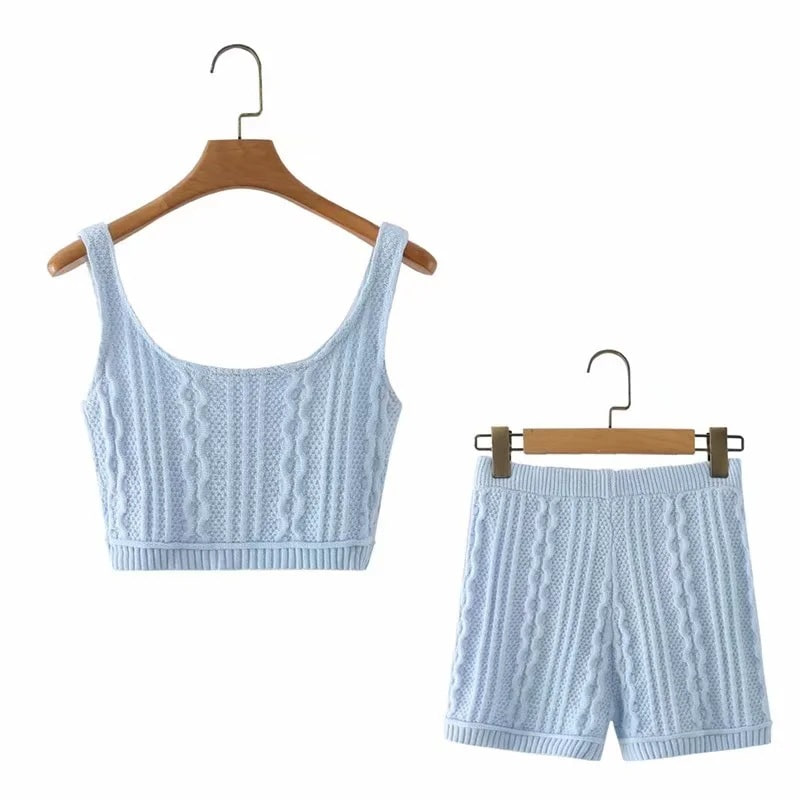 Cable Knit Crop Top & Shorts (Same day shipping available)