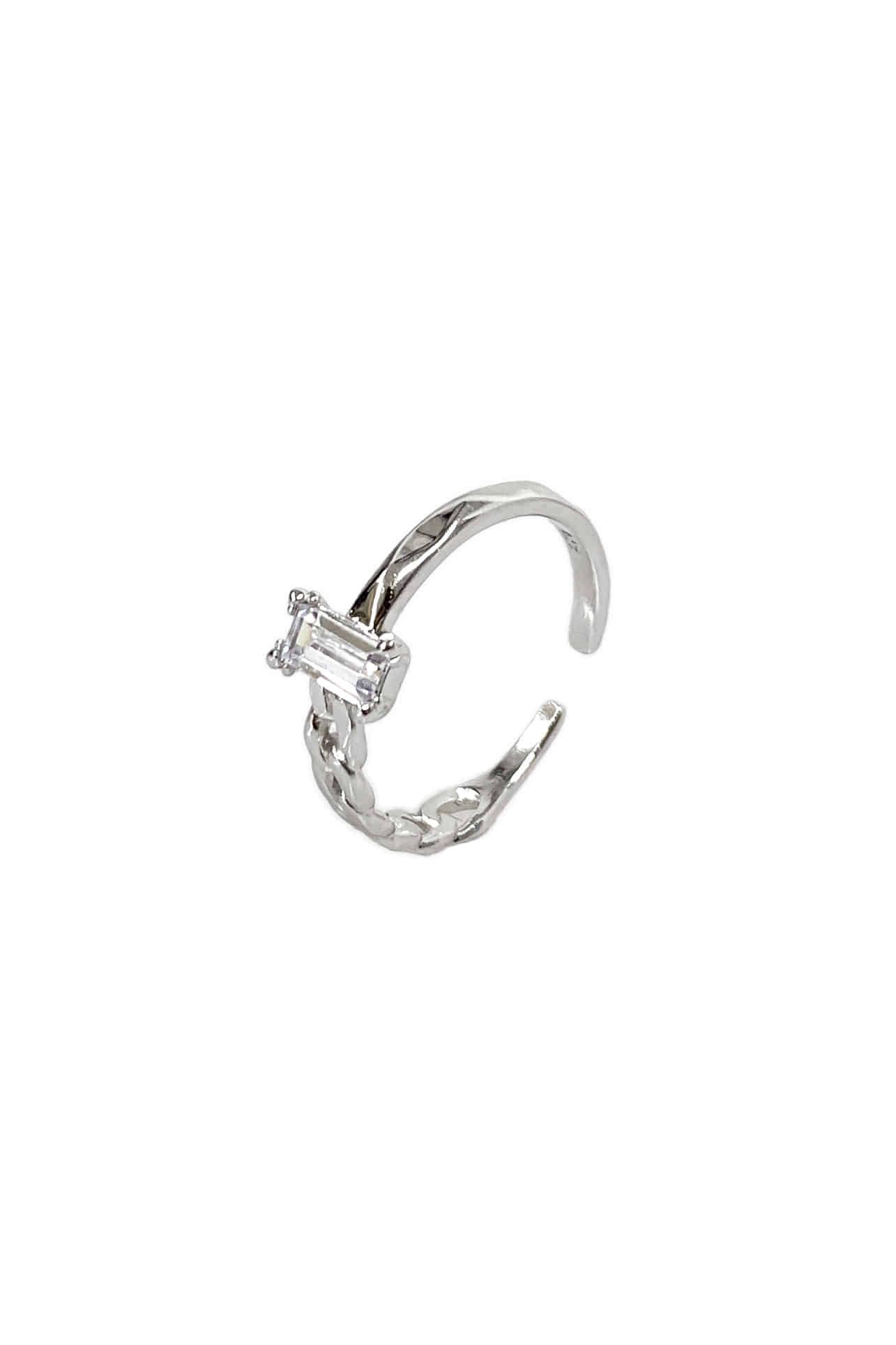 [silver925] 하프 체인 스퀘어 반지
