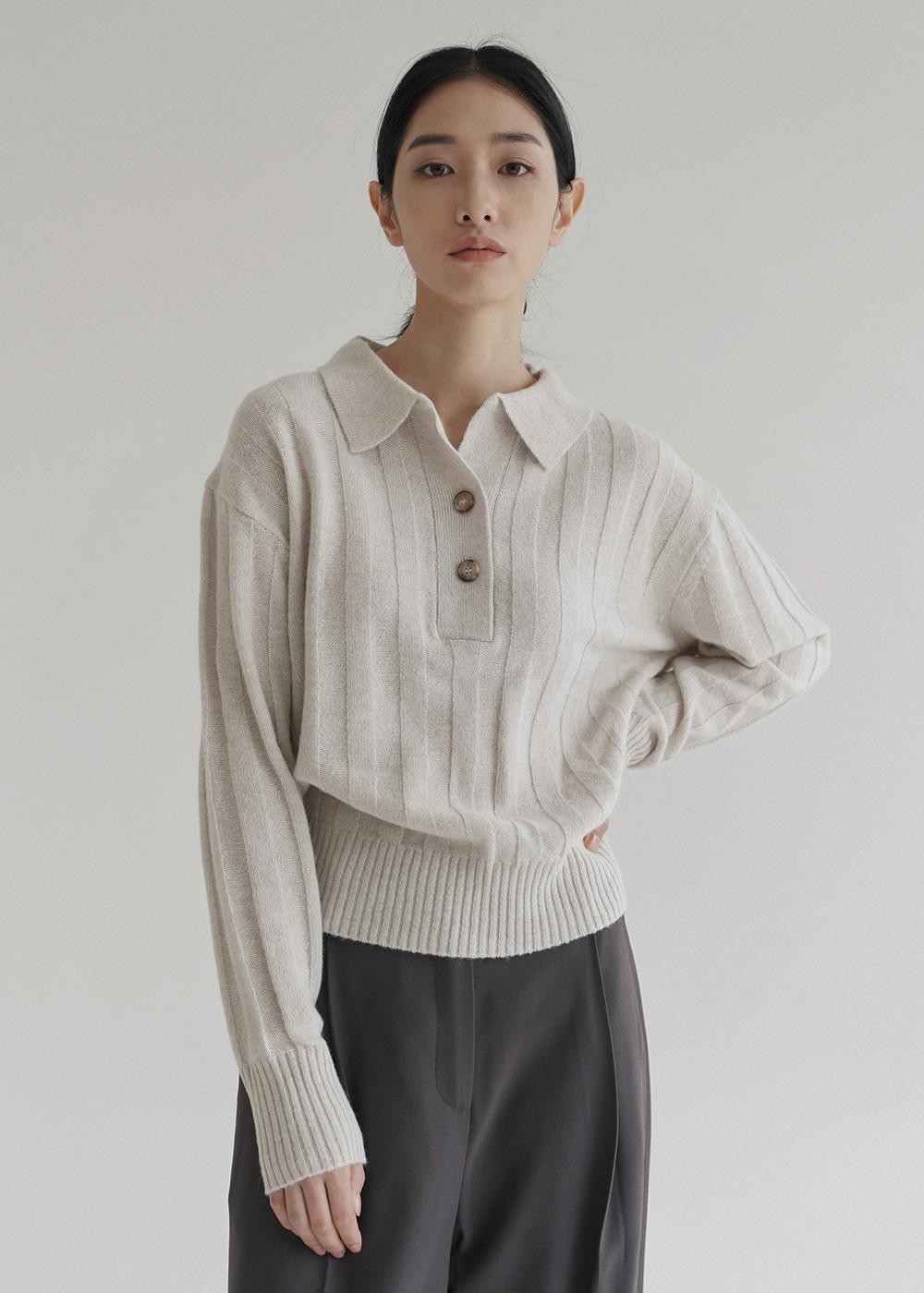 블루브릭,Open collar knit (ivory)