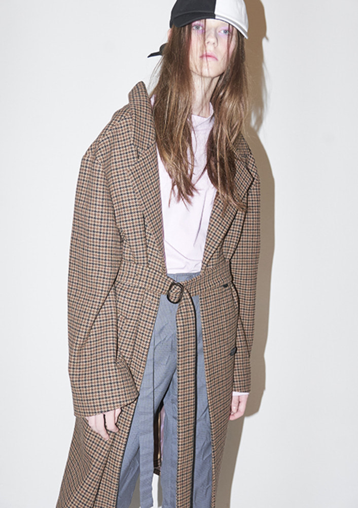 HOUNDTOOTH CHECK COAT - BROWN CHECK