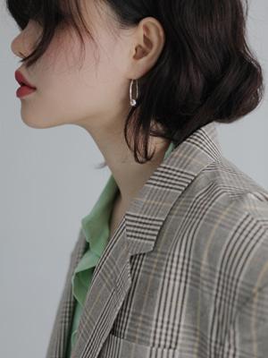 (silver 925)ball hoop earring