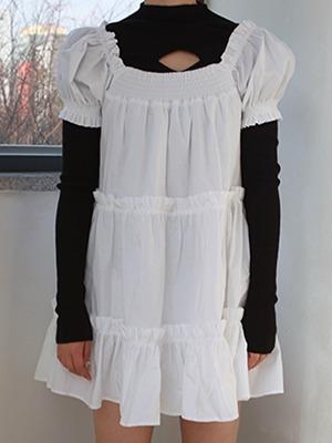 (freckle made♥)white shirring mini dress