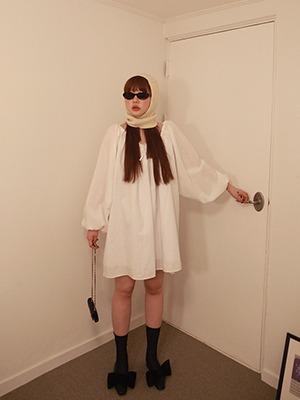 ribbon shirring dress(white,foggy gray)