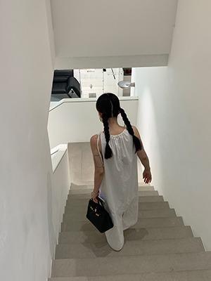 bow strap long dress
