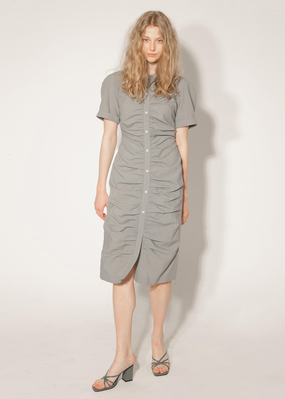 RAGLAN SHIRRING DRESS (CHECK GREEN)