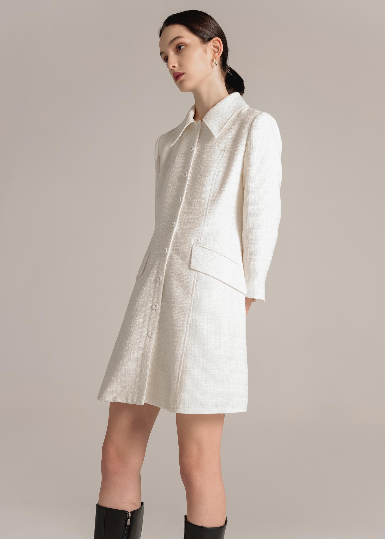 TWEED FLARE DRESS (CREAM)