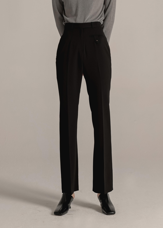 SLIM LINE HIGH WAIST PANTS (BLACK)